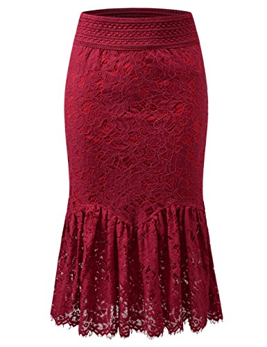 NEARKIN (NKNKWLSK747 Womens Elegance Banding Waist Oriental Iris-Patterned Midi Skirt RED US XL(Tag Size 2XL) ()