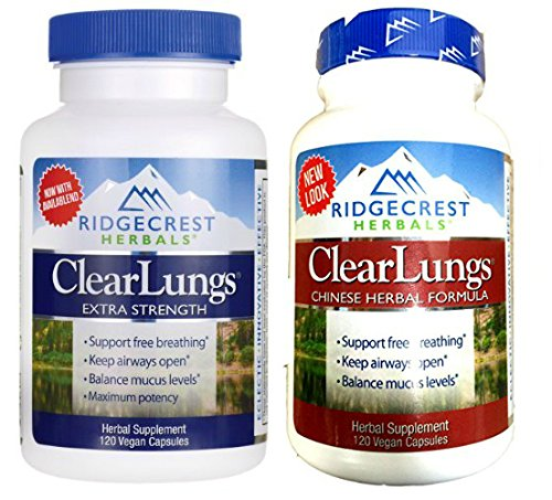 Ridgecrest Herbals ClearLungs Extra Strength and ClearLungs Original Bundle with Gardenia Fruit, Tangerine Mature Peel, and Chinese Licorice Root, 120 capsules each (Herbals 120 Capsules Ridgecrest)