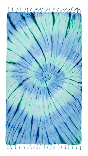 Kikoya Tie Dye Peshtemal Turkish Beach Towel, 33 Inch X 65 Inch Beach Towel Bath Pool Yoga Pilates Picnic Blanket Tapestry (Ocean-Blue)