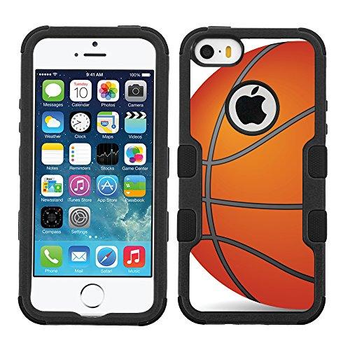 One Tough Shield ® 3-Layer Hybrid Case (Black/Black) for Apple iPhone 5C - (Basketball) 5c Shield