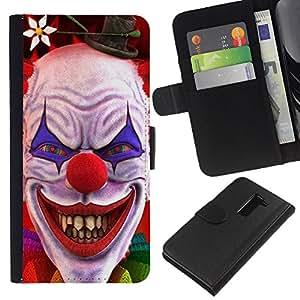 All Phone Most Case / Oferta Especial Cáscara Funda de cuero Monedero Cubierta de proteccion Caso / Wallet Case for LG G2 D800 // Clown Evil Smile Devil Red Eyes Creepy