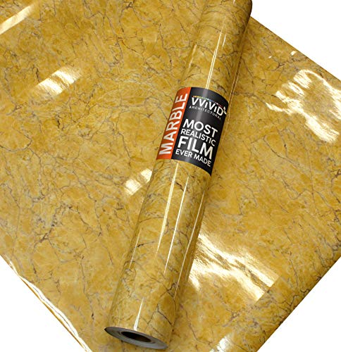 VViViD Gloss Imperial Golden Marble Natural Texture Architectural Vinyl Film Roll (16
