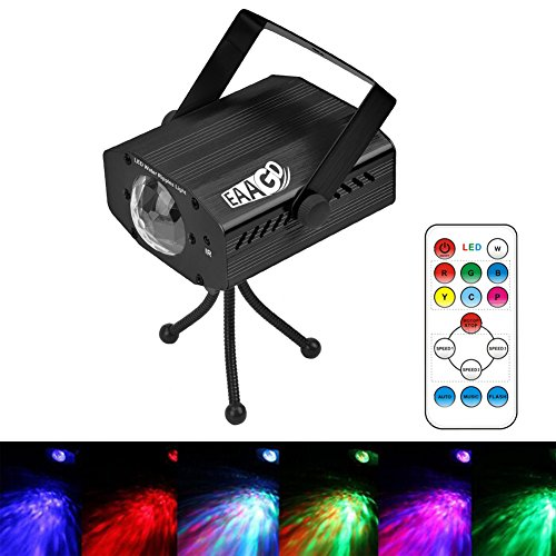 EAAGD Party Strobe Lights, 7 color Ocean Wave Projector Stage Halloween Christmas Rgb Led Par Light Lighting with Remote for DJ Bar Karaoke Xmas Wedding Flame Effects(Black)]()