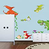 Dinosaurs Animals Green Leaves Wall Decal PVC Home Sticker House Vinyl Paper Decoration WallPaper Living Room Bedroom Kitchen Art Picture DIY Murals Girls Boys kids Nursery Baby Playroom Decor