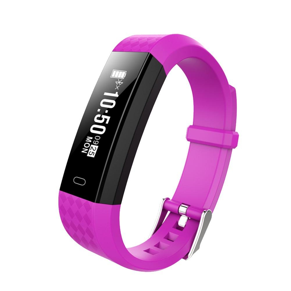 Rundaotong-US Waterproof Smart Bracelet, Fitness Tracker Heart Rate Monitor Swimming Activity Tracker Pedometer Fitness Tracker Wristband Sleep Monitor Smartwatch for iPhone Samsung Android (Purple)