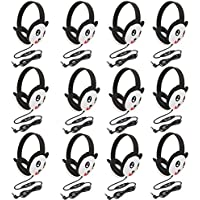 Califone 2810-PA Listening First Stereo Headphone, Panda Motif - Pack of 12