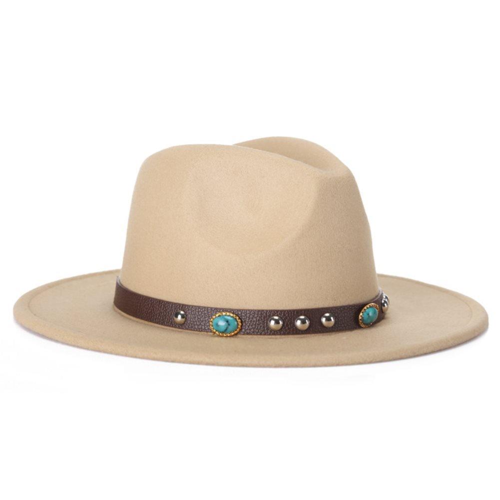 59146ebfb98 Wool Vintage Wide Brim Hard Felt Fedora Panama Hat with Bowknot  Amazon.ca   Clothing   Accessories