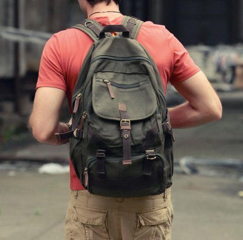 Khaki Hiking Sport Backpack Mountain Canvas 19