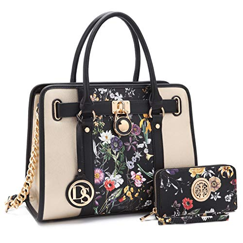 Women Designer Handbags and Purses Two Tone Fashion Satchel Bags Top Handle Shoulder Bags Tote Bags with Matching Wallet (Best Designer Purse Brands)