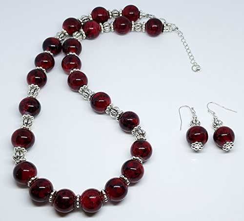 Dots Rondelle Beads - Red Marbleized Glass Beads/Silver Plated Metal Dot Rondelles/Antique Sterling Silver Plated Lantern Beaded Duo Set