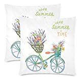 InterestPrint Custom 2 Pack Happy Summer Time with Bicycle and Flowers Throw Pillowcase 18x18 Twin Sides, Cute Bike Cotton Zippered Cushion Pillow Case Covers Set Decorative