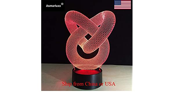 Loveknot 3D Lámpara de mesa Juguete para niños Regalo LED W Color Luz nocturna Escritorio Mesita de noche Decoración Barco ligero de EE. UU.: Amazon.es: Iluminación