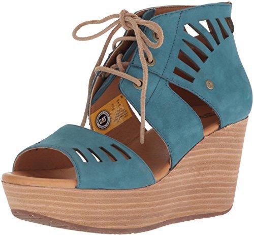 Caterpillar Women's Alma Ghillie Tie Platform Wedge Sandal, Legion Blue, 10 Medium US -