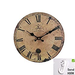 12inch Vintage France Paris Cafe des Marguerites Silent Wood Wall Clock