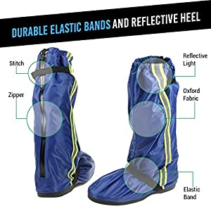 Non Slip Waterproof Motorcycle Boot Rain Covers Shoes size Men 7.5-8 Women 9-9.5 with Reflective Line and Sturdy Zippered Elastic Bands for Outdoor Hiking Camping Fishing - Blue