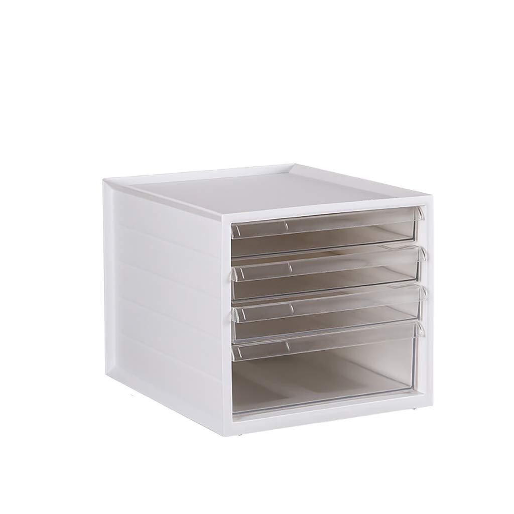 ファイルキャビネットデスクトップ収納ボックスプラスチック引き出し3層ホワイト/グレー (色 : A) B07MHZ269B A