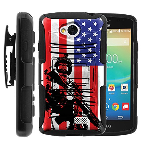 TurtleArmor | LG Tribute Case | LG Optimus F60 Case | LG Transpyre Case [Hyper Shock] Armor Hybrid Hard Shell Stand Fitted Silicone Belt Clip War and Military Design - American Soldier