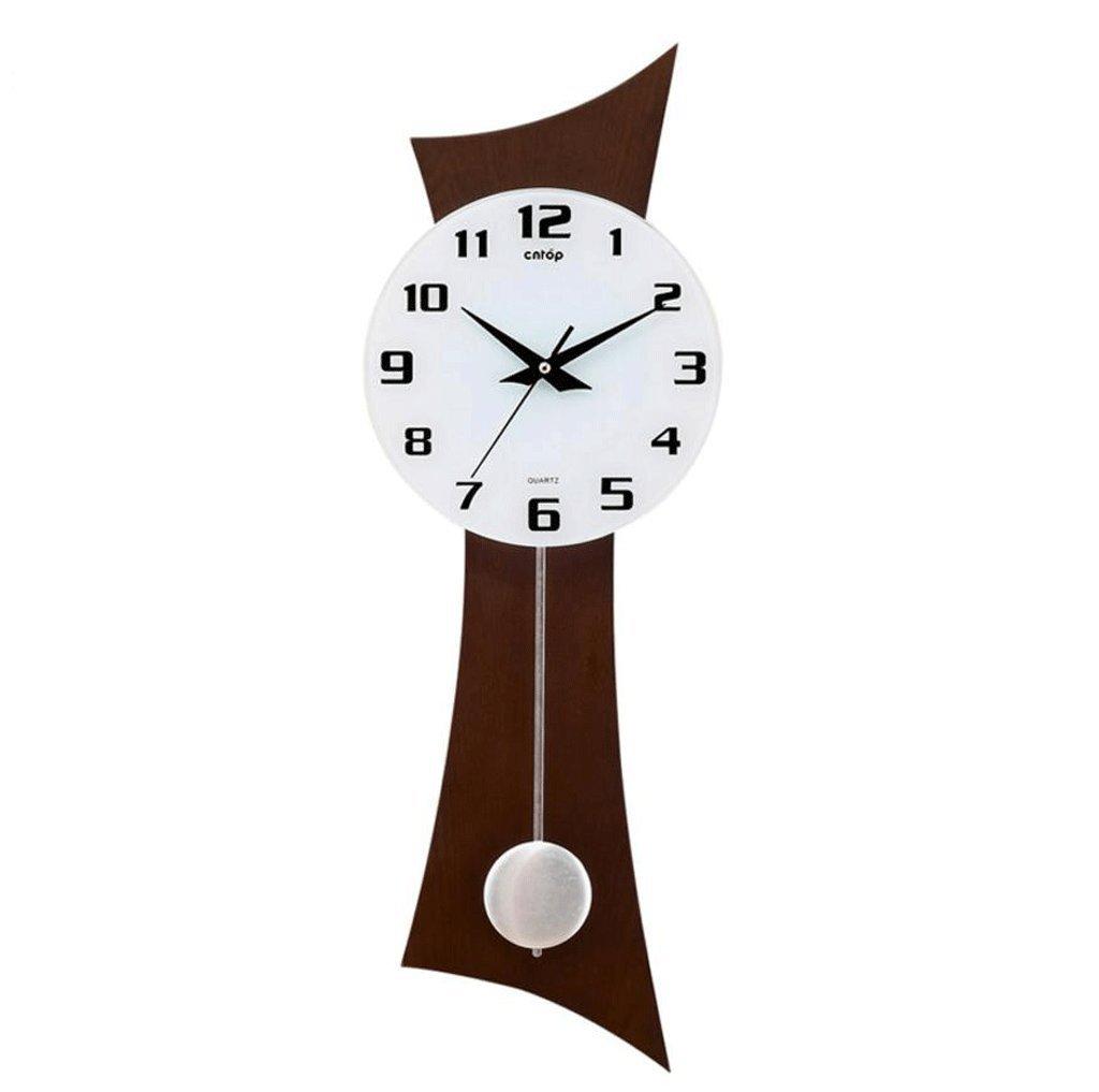TXXM® リビングルームクリエイティブウォールクロックヨーロッパの木製の時計モダンなスイング時計ミュート時計 (色 : D) B07F48KHZ7D