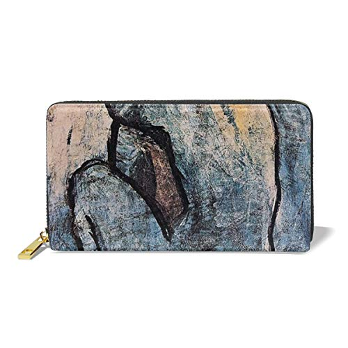 Women's New Card Holder New Fashion Wristlets Wallets Blue Nude By Picasso]()