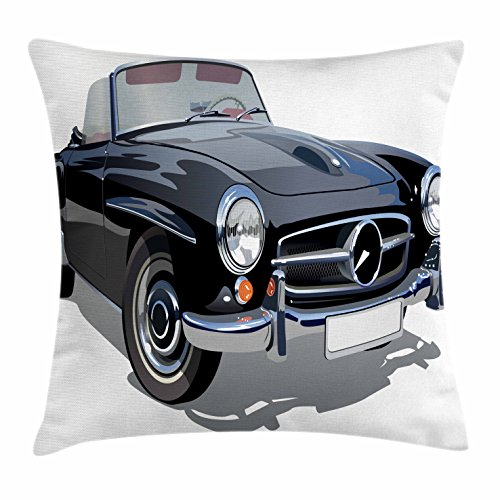 Cars Throw Pillow Cushion Cover by Ambesonne, Classical Retro Vehicle Antique Convertible Prestige Old Fashion Revival, Decorative Square Accent Pillow Case, 26 X 26 Inches, Black Pale Grey White - Convertible Studio Lounge