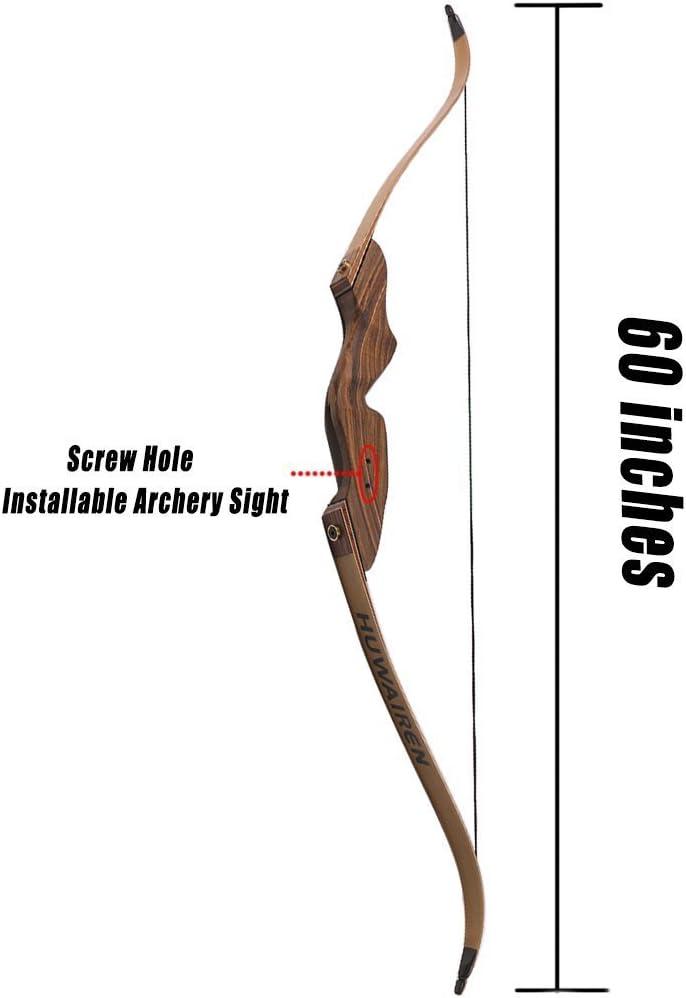 Rechte Hand WEREWOLVES 60 Recurve Bow Holz laminiert Take Down Bogenschie/ßen Bogen 35-55LB