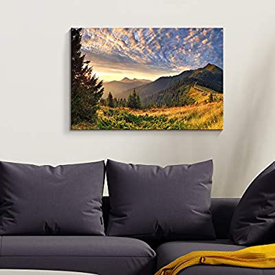 Canvas Wall Art - Mountain Sunset Landscape - Modern Home Art Stretched and Framed Ready to Hang - 32x48 inches