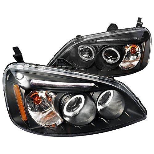 Spec-D Tuning 2LHP-CV01JM-TM Black Projector (Halo Led) 03 Honda Civic Projector Headlights