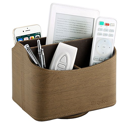 EasyAcc Remote Controller Holder Storage Container Rack Coffee Table 5 Compartments for TV Remote Phone iPad Book - PU Leather (Phone Rack)