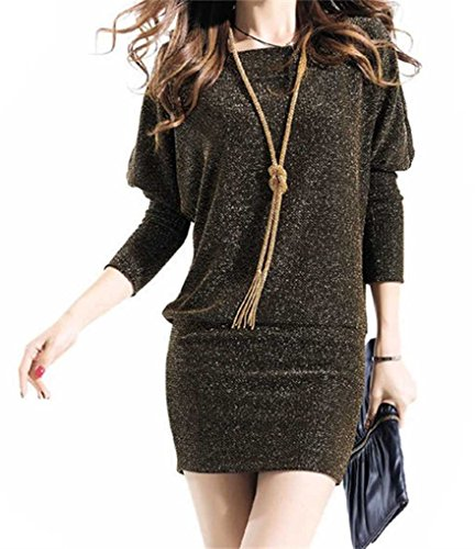 Les Femmes Blansdi Batwing Col Rond Manches Longues Paquet Hanche Partie Clubwear Mini-robe Or