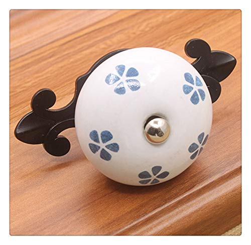 (KFZ Door Handles Furniture Cabinet Pull Drawer Knobs White Ceramic Handle HAO1037 Furniture Gate Cabinet Hardware Single-Hole Black Base 1PC (1037H-Black-Winter Jasmine) )