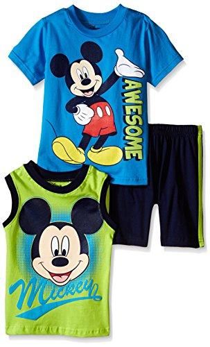 Disney Toddler Boys' Mickey Mouse 3 Piece Short Set, Blue, 4T