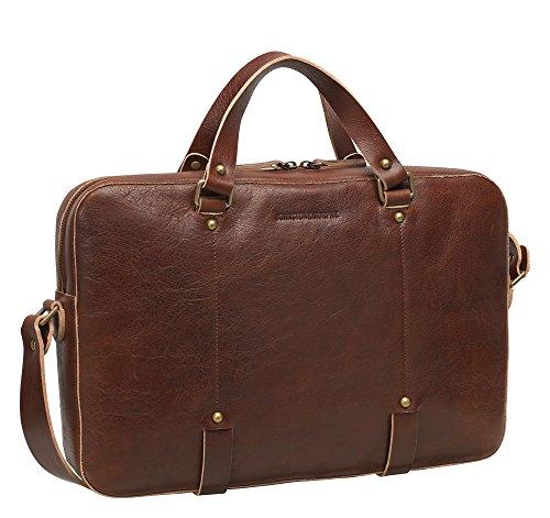 Johnston & Murphy Slim Zip-Top Briefcase (BROWN)