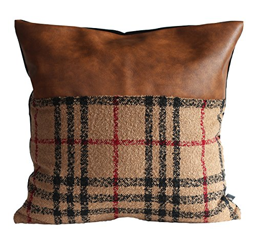 Kdays Tartan Brown Check Pillow Cover Designer Modern Throw Pillow Cover Decorative Faux Leather Pillow Cover Handmade Cushion Cover 20x20 (Tartan Throw)