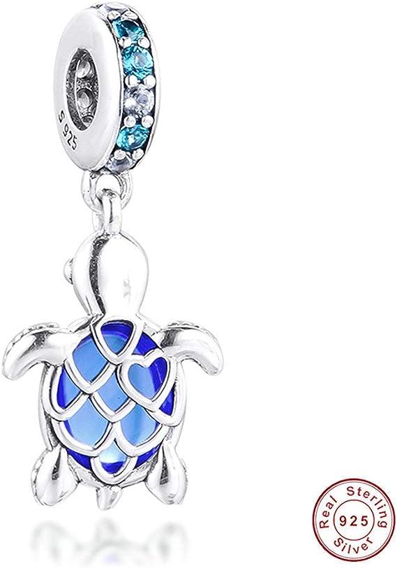 BAKCCI 2020 Perle en verre de Murano bleu marine tortue en argent 925 pour  bracelets Pandora originaux