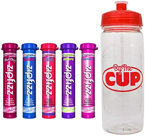 Zipfizz Energy Drink Mix Fruit Bowl Variety, 5 Caffeinated Flavors with By The Cup Sports Bottle ()