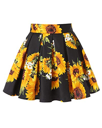 MINTLIMIT Women Vintage Skirt Waist Rockabilly Swing Casual Party Skirts(Floral Yellow,Size S)
