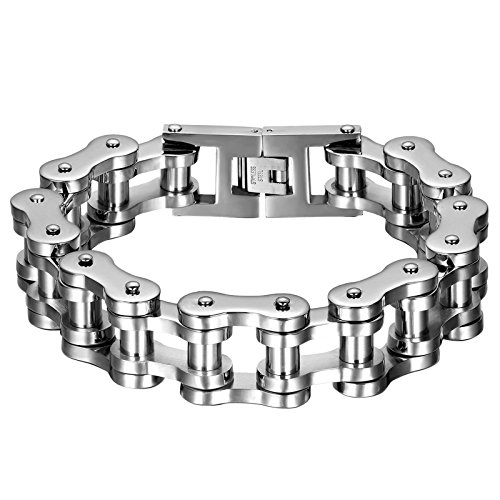 Oidea Mens Stainless Steel 18MM Gothic Wide Heavy Bicycle Chain Bracelet for Biker,9 Inch,Silver