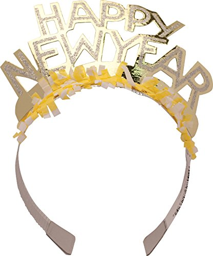 Creative Converting Glitter Paper Tiaras, Happy New Year, 50-Count