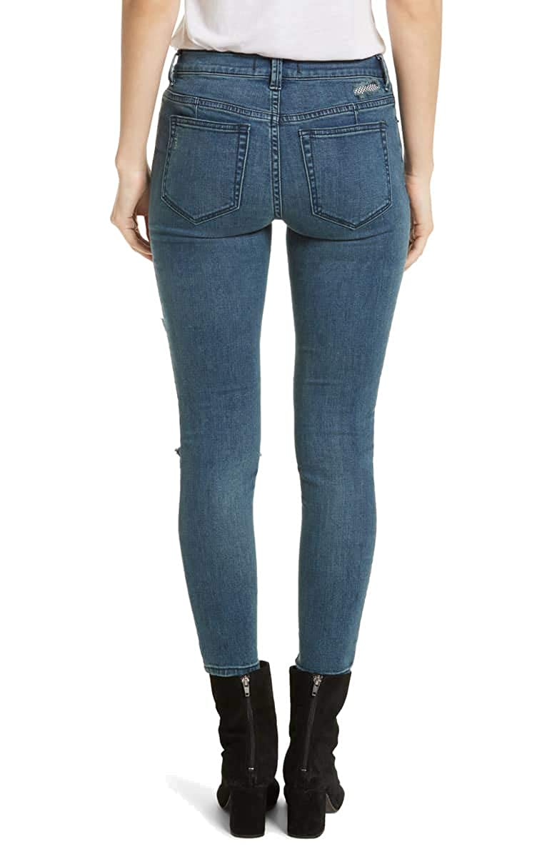 Free People Womens Fishnet-Inset Skinny Jeans