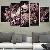 1 Conjunto de New Skull and Roses pared modular moderno pintura sobre lienzo 5pcs/Set póster impreso sin enmarcar la decoración del hogar