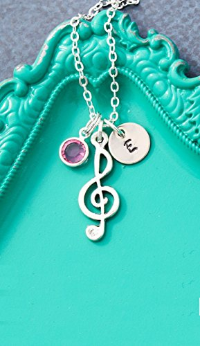 Music Note Necklace – DII AAA - Treble Clef – Piano Teacher Choir Gift – Handstamped Handmade Jewelry – 3/8 Inch 9MM Silver Disc – Choose Birthstone - Customize Name – Fast 1 Day Shipping -