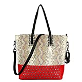 Snakeskin Pattern Genuine Leather Handbag Tote (Red)
