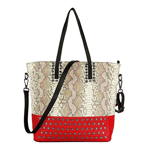 Animal Tote Print Handbag (Snakeskin Pattern Genuine Leather Handbag Tote (Red))
