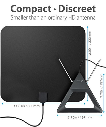 HDTV Antenna 25-40 Miles Range, Fosmon Indoor Rabbit Ear TV Antenna, Retractable Dipoles [Wall Mountable or Tabletop] with 5FT Cable Connector