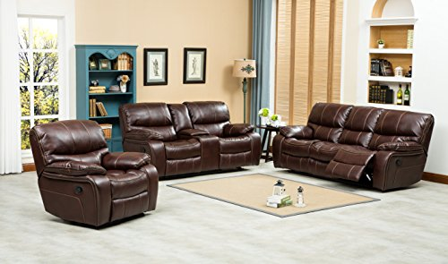 Ewa Brown Leather Air Reclining Sofa, Loveseat And Rocker Recliner