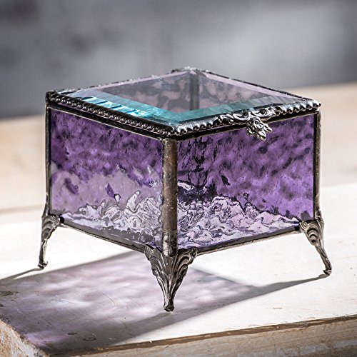 J Devlin Box 836 Amethyst Glass Jewelry Box Vintage Home Purple Keepsake Gift (Jewelry Amethyst Box)