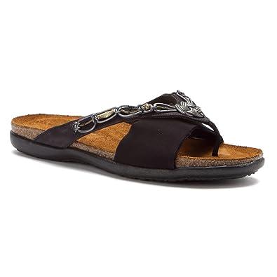 ccf6d90caef7 NAOT Footwear Women s Jennifer Brushed Black Lthr Black Velvet Nubuck Black  Stretch Slide Sandal