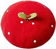 Handmade Kawaii Red Strawberry Beret Vintage Artist Painter Hat Women Wool Cap Warming Gift