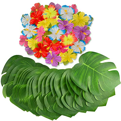 MOMOTOYS Tropical Party Decorations 96Pcs Palm Leaves Tropical Leaves Hibiscus Flowers Luau Party Supplies Hawaiian Decorations Baby Shower Tiki Aloha Jungle Beach Theme Birthday Party -