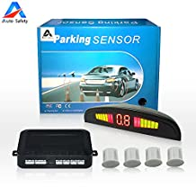 Auto safety Car Reverse Backup Radar System parking sensor kit ,LED Dispaly + Human Voice Alert +4 sensors+4 colors for Universal Auto Vehicle (White)